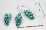 Gnset047 Round Turquoise Grape Pendant Necklace& Earrings Set
