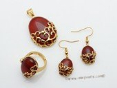 gnset053 Handmade jewelry stunning agate gold tone earrings , pendant and ring set