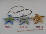 gpd001 10 pieces 60mm starfish-shape lampwork glass pendant