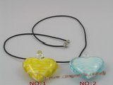 gpd014 10 pieces 40mm colourful heart chinese lampwork glass pendant