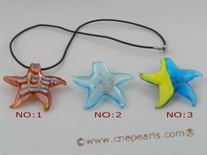 gpd024 10 pieces 45mm starfish-shape lampwork glass pendant