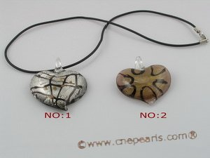 gpd030 10 pieces 40mm peach design lampwork glass pendant