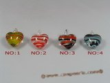 gpd045 wholesale 10pieces multi-color heart-shape lampwork pendant