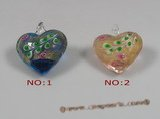 gpd046 10 pieces 35mm heart-shape lampwork glass pendant