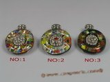 gpd048 40mm round lampwork glass pendant with 18KGP mountting