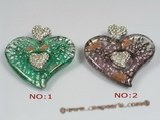 gpd050 60*65mm heart-shape lampwork 18KGP pendant wholesale