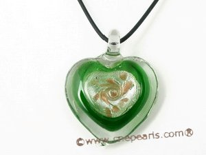 gpd058 45mm heart-shape lampwork pendant necklace factory price wholesale,10 pieces