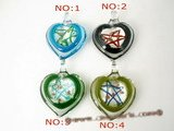 gpd059  Ten pieces 45mm heart-shape lampwork pendant necklace with star pattern