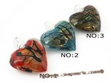 gpd064 Ten pieces 40mm heart-shape colorized glaze pendant necklace at low price