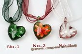 Gpd102 Ten pieces 35mm Heart Lampwork Glass Pendant Necklace