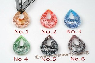 Gpd103 Ten pieces 40*60mm Foil Teardrop Lampwork Glass Pendant Necklace