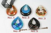 Gpd104 Ten pieces 40*50mm Foil Lampwork Glass Pendant in Teardrop