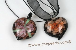 Gpd109 Colored Peach Millefiori Lampwork Glass Pendant Necklace