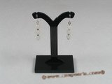 gse008 Sterling silver 6mm white jade beads dangle Earring
