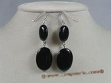 gse009 Handcrafted Sterling Silver black agate dangle earrings