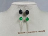 gse011 sterling dangling earrings with crystal and jade