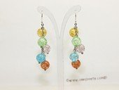 gse033 wholesale multi-color crystal beads pierce earrings with 925silver hook