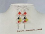 gse035 hand warpped red crystal and jade pierce dangle earrings