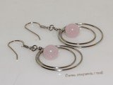 gse049 925silver multi Hoop dangle Earrings with 8mm rose quartz
