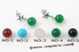 gse056 Sterling silver star stud earrings with 8mm green jade