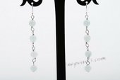 gse073 6mm gem stone  beads dangle Earring with sterling silver earring hook