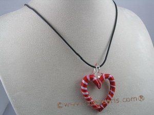 gset008 extraordinary heart-shape lampwork necklace Set