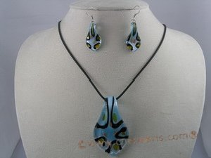 gset014 beautiful clipper-built lampwork necklace&earrings set