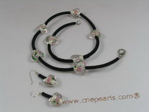 gset017 white heart-shape lampwork black cord nekclace set in wholesale