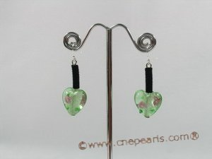 gset018  green heart-shape lampwork black cord nekclace set for wholesale