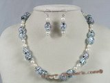 gset023 oval lampwork beads&pearl necklace jewelry set