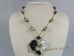 gset024 yellow heart design lampwork pendant necklace&earrings set