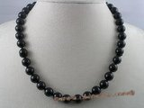 gsn006 Handcrafted 10mm black agate beads gem stone necklace