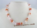 gsn022 10mm disc design red agate alternat with crystal beads necklace