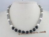 gsn025 10mm black agate beadsalternately with potato pearl necklace