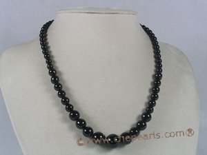 gsn029 wholesale gradual change black agate beads necklace