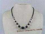 gsn035 gradual change black agate beads rubber cord necklace