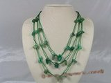 gsn048 baroque nugget  green aventurine layer necklace with green cord