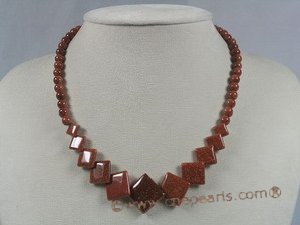 gsn058 gradual square gold sand gemstone necklace