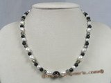 gsn061 Black agate & cultured pearl beads Princess Necklaces