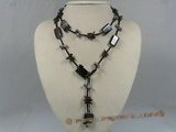 gsn064 Oblong agate and crystal beads leather rope necklace in wholesale