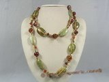 gsn067 Green gemstone &agate leather rope necklace in wholesale