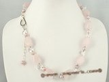 gsn083 Facted rose quartz and purple pearl gemstone necklace in wholesale