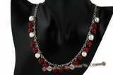 gsn092 Sunny Handcrafted red jade and shell pearl 925silver necklace