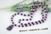 gsn110 Handmade Rose Quartz and Amethyst Rope Necklace with Quan Yin Pendant