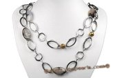 Gsn120 Hammered Oval Rope Link Necklace with Moss Agate and Whorl Pearl