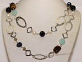 Gsn126 Dazzling Faceted Crystal with Tiger eye&#39s Stone Rope Link Necklace
