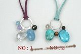 gsn135 fashion gemstone leather necklace with sterling silver fitting