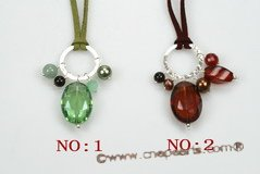 gsn136 fashion gemstone leather necklace with sterling silver fitting