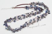 gsn143 Elegant Baroque Gemstone Beads and Brown Cord Layer Necklace