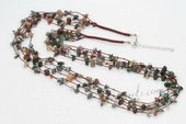 gsn144 Hand Crafted Baroque Jade Beads and Brown Cord Layer Necklace